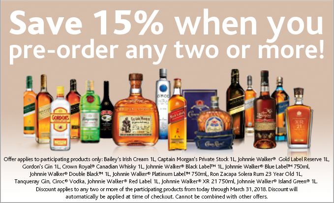Save 15% when you preorder 2 or more selected liquors
