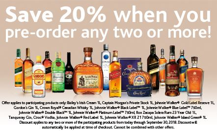 Save 20% when you preorder 2 or more selected liquors