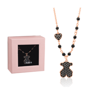 Picture of BLACK SPINEL BEAR MOTIF NECKLACE