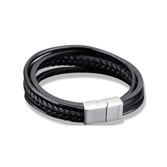 Picture of GENT'S BLACK 4-IN-1 LEATHER BRACELET - 169784