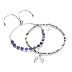 Picture of SKYLA BLUE GEMSTONE SLIDER & WINGS BRACELET DUO - 157112