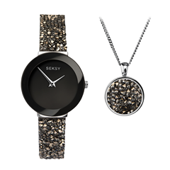 Picture of BLACK CRYSTAL ROCK WATCH & PENDANT SET - 240148