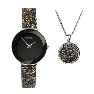 Picture of BLACK CRYSTAL ROCK WATCH & PENDANT SET